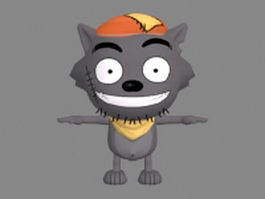 Cute wolf anime 3d model preview