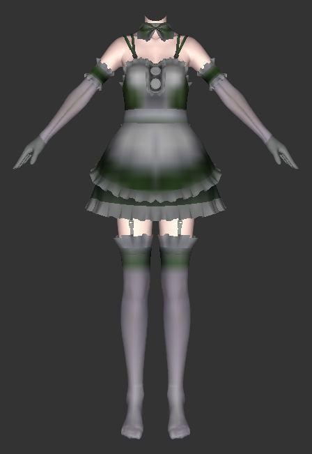 Anime maid costume 3d rendering