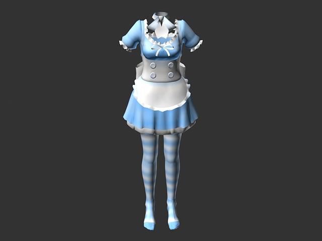 Cute maidservant clothing 3d rendering