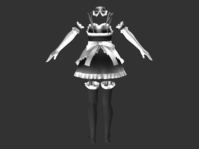 Anime maid dress outfits 3d rendering