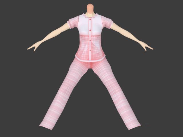 Cute pajamas for girl 3d rendering