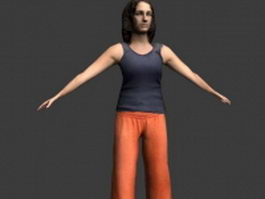 Woman in T-pose 3d preview