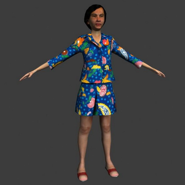 Middleaged woman in T-pose 3d rendering