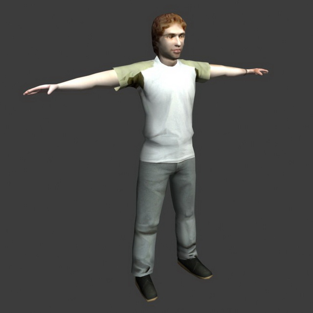 Young Man Posing 3d Model 3ds Max,Lightwave,Object Files