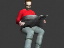 Man reading newspaper 3d preview
