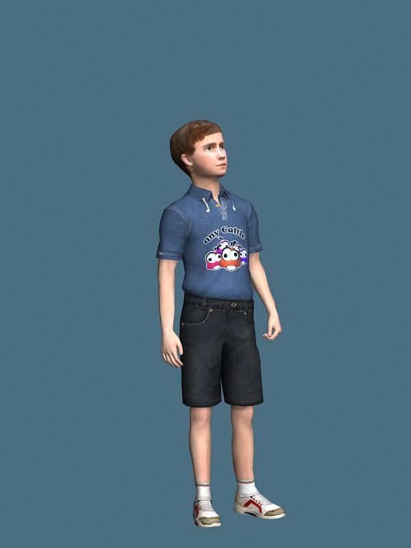 Teen boy standing rigged 3d rendering