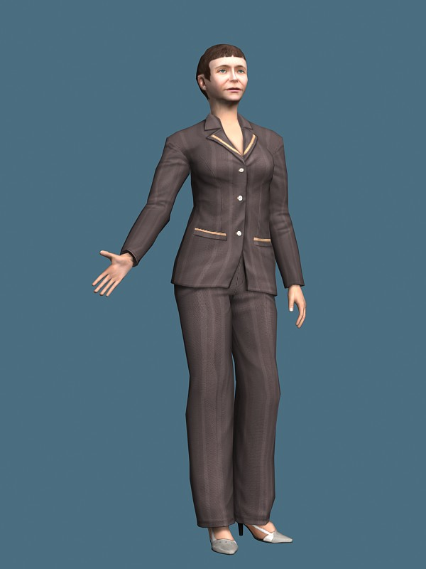 Middle aged business woman rigged 3d rendering