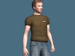 Young man standing rigged 3d model preview