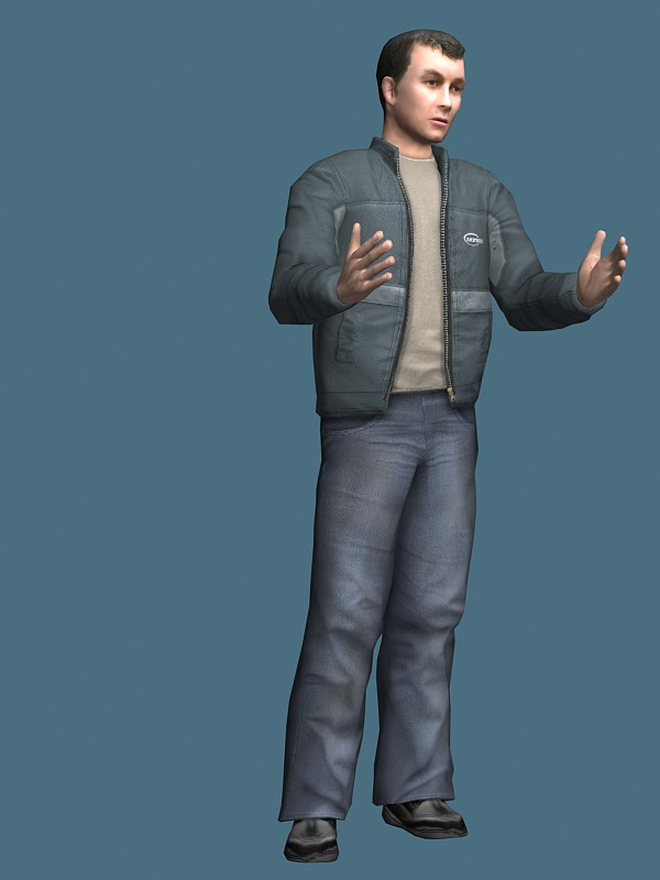 Man in jacket rigged 3d rendering