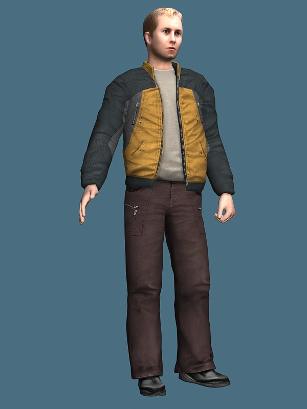 Man in jacket standing & rigged 3d rendering
