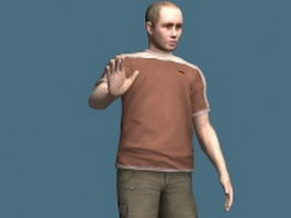 Casual middle aged man rigged 3d model preview