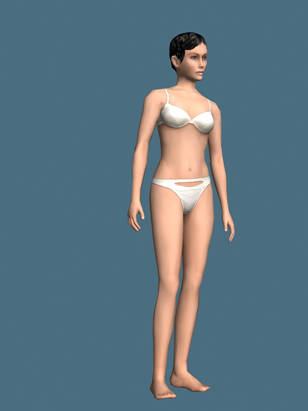 Woman In Underwear Rigged 3d Model 3ds Max Maya Files Free