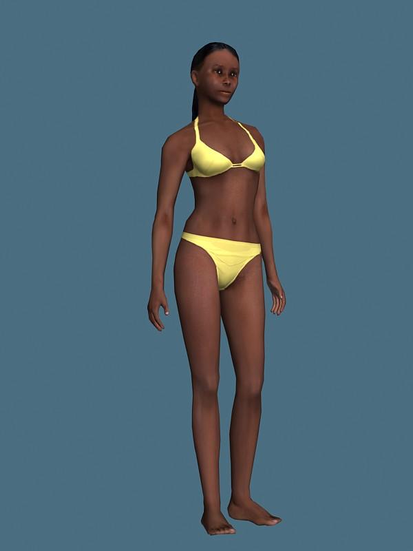 Bikini African woman rigged 3d rendering