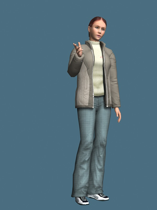Jacket woman rigged 3d rendering