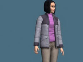 Casual woman in jacket rigged 3d model preview