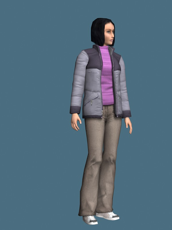 Casual woman in jacket rigged 3d rendering