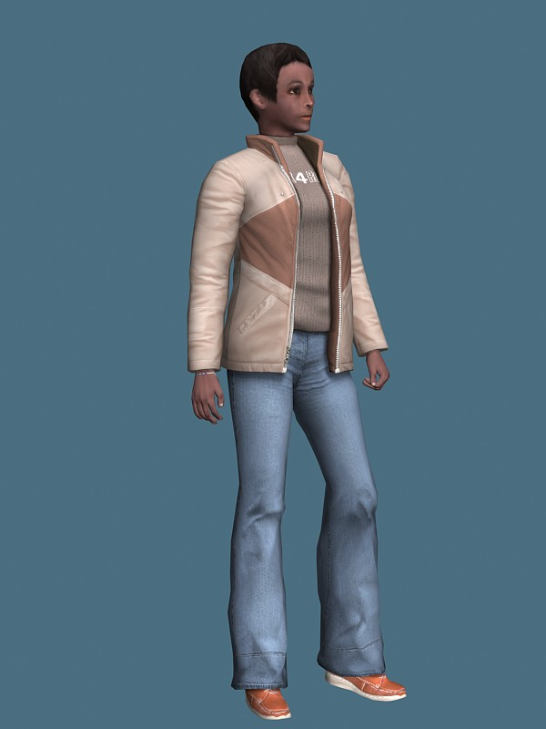 Black woman in casual clothes rigged 3d rendering