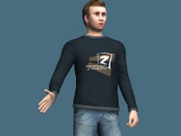 Young man in casual clothes 3d preview
