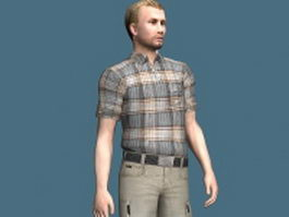 Man in summer clothes rigged 3d model preview