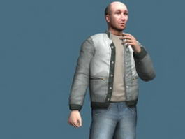 Bald man rigged 3d model preview