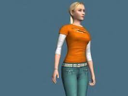 Pure girl tigged 3d model preview