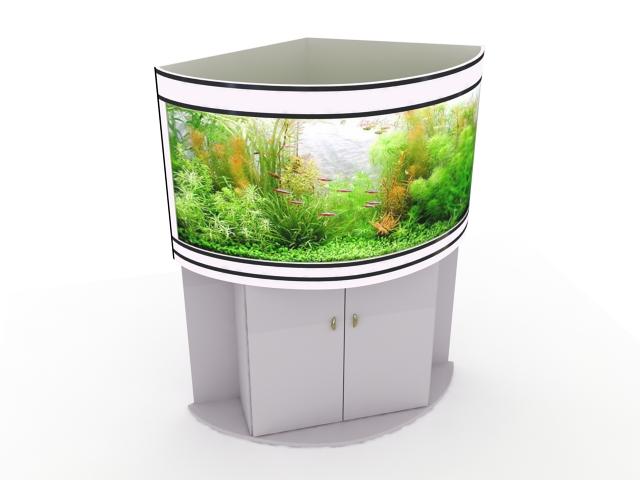 Corner aquarium tank 3d rendering