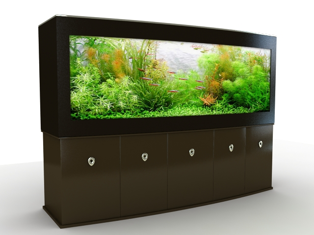 Big aquarium for home 3d rendering