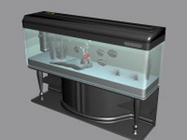 Fish aquarium with stand 3d model preview