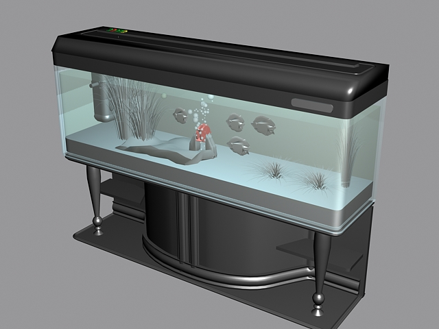 Fish aquarium with stand 3d rendering