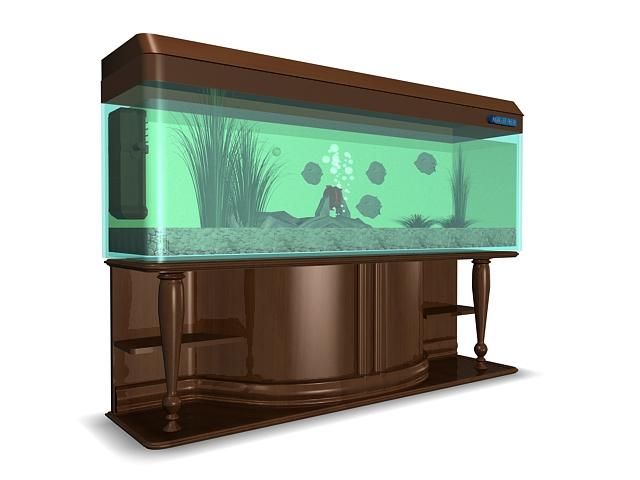 Wood aquarium 3d rendering