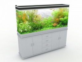 White aquarium cabinet 3d preview