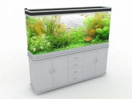 White aquarium cabinet 3d model preview