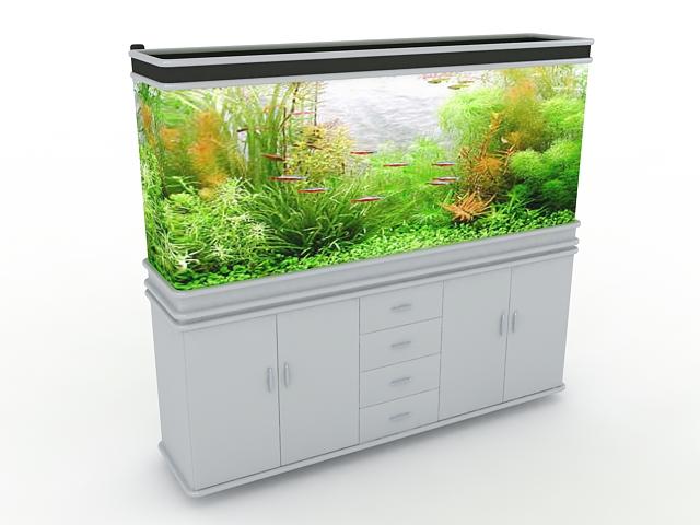 White aquarium cabinet 3d rendering
