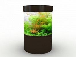 Small cylinder aquarium 3d model preview