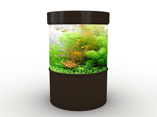 Small cylinder aquarium 3d rendering