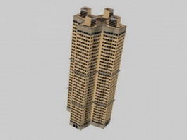 Residential tall building 3d model preview