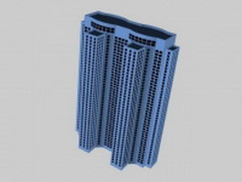 High-rise apartment tower 3d model preview