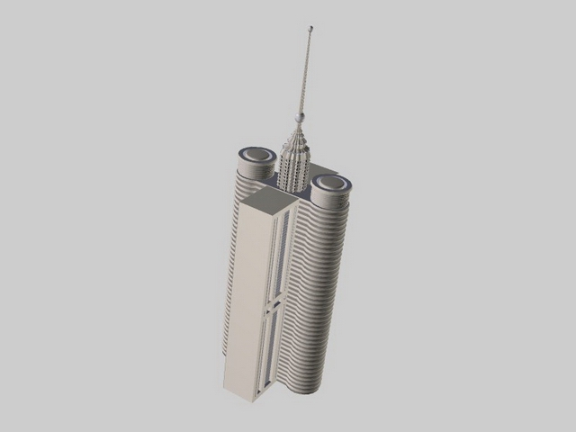 Telecommunication building 3d rendering