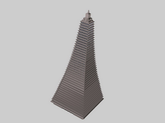 Pyramid shaped building 3d rendering