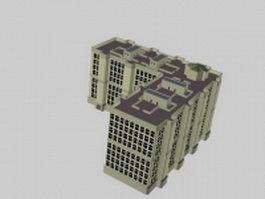 L-shaped apartment building 3d model preview