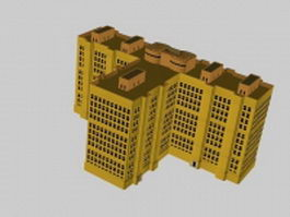 Apartment block 3d model preview