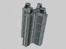 Apartment blocks 3d model preview