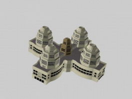 Futuristic building concept 3d model preview