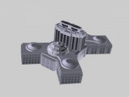 Modern factory buildings 3d preview