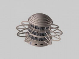 Modern round building 3d preview