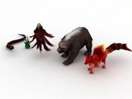 Fantasy animals collection 3d model preview