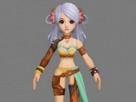 Anime girl fighter 3d model preview