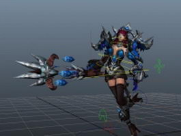 Female mage rigged & animated 3d preview