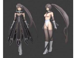 Anime sword girls 3d model preview
