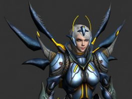Sci-Fi woman warrior 3d model preview